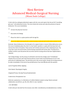 hesi review advanced medical-surgical nursing (miami dade college): 100 questions and answers with rationale. includes test-taking strategy, level of cognitive ability, client needs, integrated process, content area and the reference,.