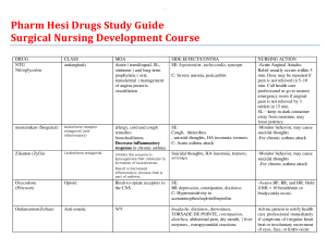 pharm hesi drugs study guide surgical nursing development course. the most examined drugs tested. document containes drugs, class, moa, side effect/contra, & nursing action