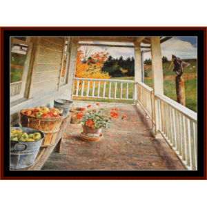 Autumn Porch, new edition - Americana cross stitch pattern by Cross Stitch Collectibles | Crafting | Cross-Stitch | Other