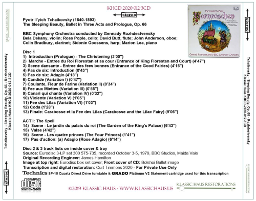 Second Additional product image for - Tchaikovsky: The Sleeping Beauty, Op. 66 (complete) - BBC SO/Gennady Rozhdestvensky