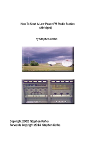 how to start a low power fm radio station (abridged) by stephen kafka