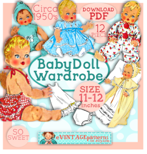baby doll 2100-size 11 to 12 inch 12pc doll clothes vintage pattern circa 1955 pdf sunsuit dress christening gown bonnet robe knit romper pjs slip download