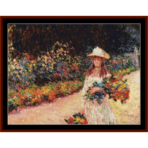Young Girl in Garden, new edition - Monet cross stitch pattern by Cross Stitch Collectibles | Crafting | Cross-Stitch | Other