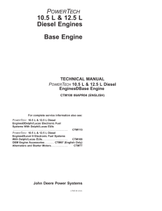 john deere powertech 10.5l (6105) & 12.5l (6125) diesel base engine component technical manual (ctm100)