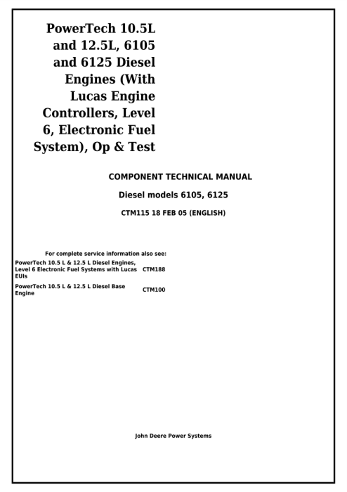 First Additional product image for - Powertech 6105, 6125 Diesel Engine(Lucas ECU Level6 Electronic Fuel System) Technical Manual(CTM115)