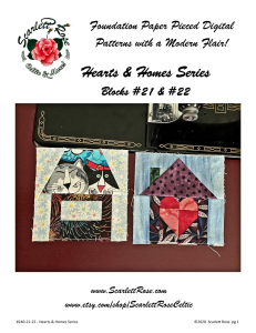 Home Blocks 21 & 22 - Hearts & Homes Series Foundation Paper Pieced (FPP) block pattern | Crafting | Sewing | Other