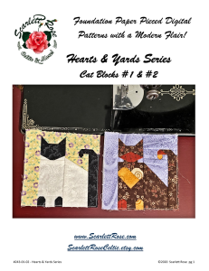 Cat Blocks 1 & 2 - Hearts & Yards Series Foundation Paper Pieced (FPP) modern block pattern | Crafting | Sewing | Other