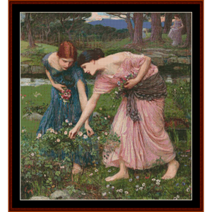 gather ye rosebuds, 3rd edition - waterhouse cross stitch pattern by cross stitch collectibles