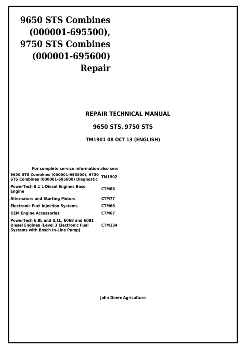 First Additional product image for - Download John Deere 9650 STS (-695500) , 9750 STS (-695600) Combines Technical Service Repair Manual (TM1901)