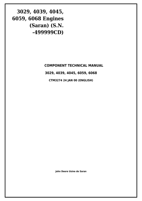 First Additional product image for - Download John Deere Powertech 3029, 4039, 4045, 6059, 6068 Diesel Engines (S.N. -499999CD) Service Repair Technical Manual ctm3274