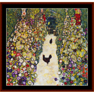 garden path with chickens, 2nd edition - klimt cross stitch pattern by cross stitch collectibles