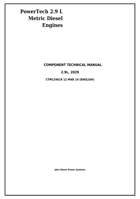 First Additional product image for - Download John Deere PowerTech 2.9L 3029 Metric Diesel Engine Diagnostic & Repair Technical Manual CTM124619