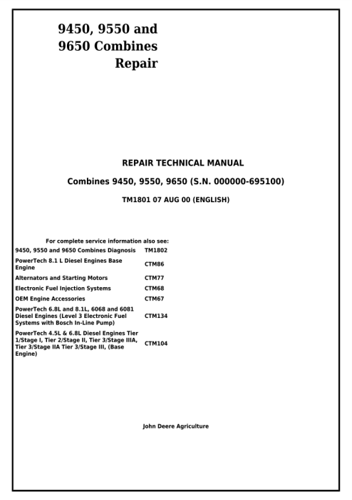 First Additional product image for - Download John Deere 9450, 9550 and 9650 Combines (SN. before 695100) Technical Service Repair Manual (TM1801)