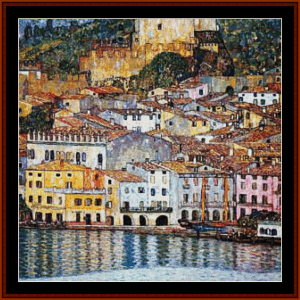 malcesine am gardasee, 2nd edition - klimt cross stitch pattern by cross stitch collectibles
