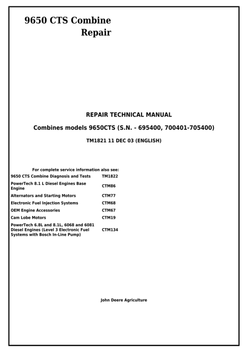 First Additional product image for - Download John Deere 9650CTS Combine Service Repair Technical Manual (tm1821)