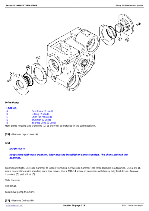 Download John Deere 9650CTS Combine Service Repair