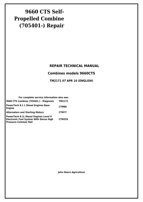 First Additional product image for - Download John Deere 9660 CTS Self-Propelled Combine (SN.from 705401) Technical Service Repair Manual TM2171