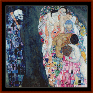 life and death, 2nd edition – gustav klimt cross stitch pattern by cross stitch collectibles