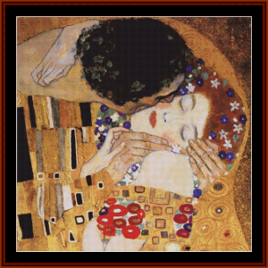 the kiss, detail, 2nd edition – gustav klimt cross stitch pattern by cross stitch collectibles