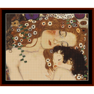 mother and child, 2nd edition – klimt cross stitch pattern by cross stitch collectibles