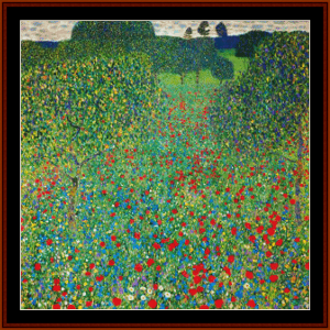 poppy field, detail, 2nd edition – gustav klimt cross stitch pattern by cross stitch collectibles