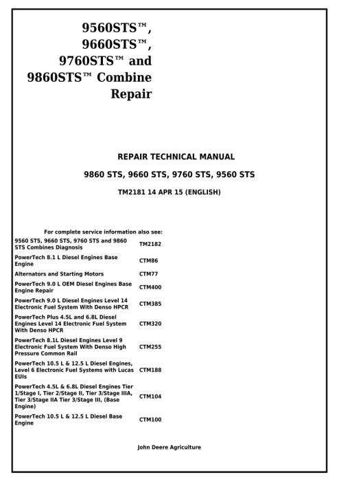 First Additional product image for - Download John Deere 9560 STS, 9660 STS, 9760 STS, 9860 STS Combines Service Repair Technical Manual (TM2181)