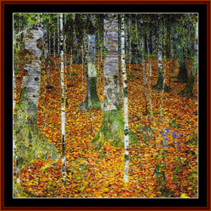 birch trees 2nd edition – gustav klimt cross stitch pattern by cross stitch collectibles