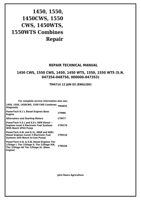 First Additional product image for - Download John Deere 1450, 1550, 1450CWS, 1550CWS, 1450WTS, 1550WTS Combines Technical Service Repair Manual (TM4714)