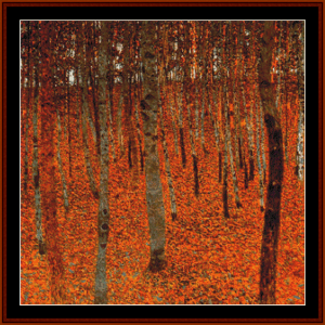 beech forest 2nd edition – gustav klimt cross stitch pattern by cross stitch collectibles