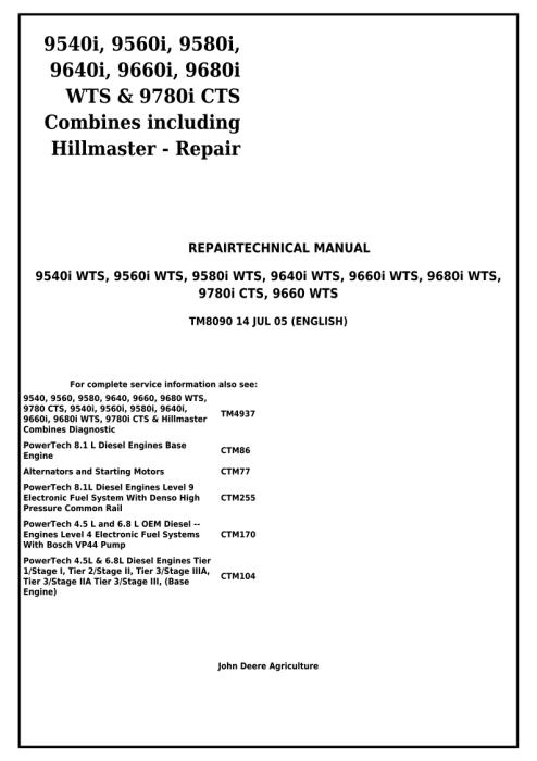 First Additional product image for - Download John Deere 9660, 9540i, 9560i, 9580i, 9640i, 9660i, 9680i WTS, 9780i CTS Combines Service Repair Manual TM8090