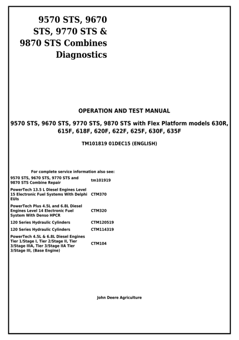 First Additional product image for - Download John Deere 9570STS, 9670STS, 9770STS, 9870STS Combines Diagnostic, Operation and Test Service Manual TM101819
