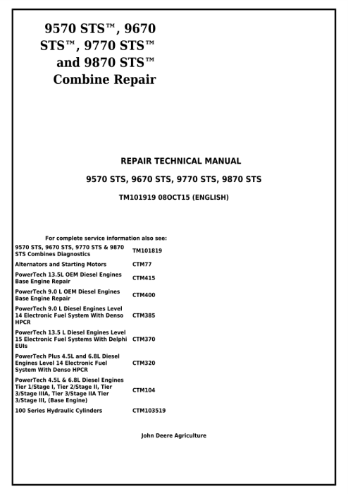 First Additional product image for - Download John Deere 9570 STS, 9670 STS, 9770 STS and 9870 STS Combines Technical Service Repair Manual (TM101919)