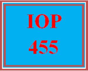 IOP 455 Wk 3 Discussion | eBooks | Education