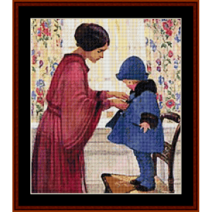 All buttoned Up - Jesse Willcox Smith cross stitch pattern by Cross Stitch Collectibles | Crafting | Cross-Stitch | Other