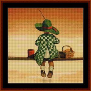 Gone Fishin' - Jesse Willcox Smith cross stitch pattern by Cross Stitch Collectibles | Crafting | Cross-Stitch | Other