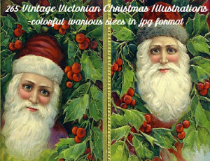 265 color victorian christmas images