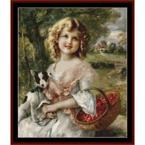 girl with cherries – emile vernon cross stitch pattern by cross stitch collectibles