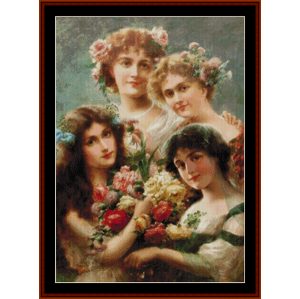 the girls – emile vernon cross stitch pattern by cross stitch collectibles