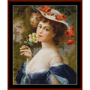 Lady with White Rose – Emile Vernon cross stitch pattern by Cross Stitch Collectibles | Crafting | Cross-Stitch | Other
