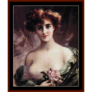The Pink Rose – Emile Vernon cross stitch pattern by Cross Stitch Collectibles | Crafting | Cross-Stitch | Other
