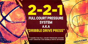 "2-2-1 full court pressure system a.k.a. ""dribble drive offense press"""