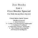 List 1- Five Books Special / Zoe Books / Books 2,3,4,5,6   eBooks   Religion and Spirituality