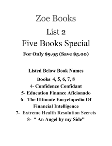 list 2- five books special / zoe books / books 4,5,6,7,8