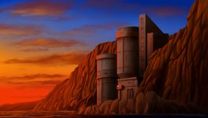 seaside outpost landscape wallpaper painting