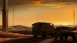 'desolate sunset' landscape wallpaper painting
