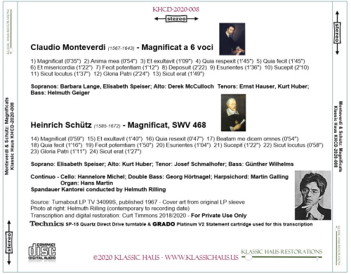 First Additional product image for - Monteverdi & Schütz: Magnificats - Spandauer Kantorei conducted by Helmuth Rilling
