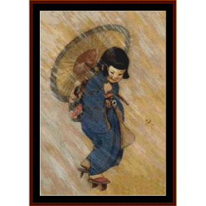 April Showers – Jesse Willcox Smith cross stitch pattern by Cross Stitch Collectibles | Crafting | Cross-Stitch | Other