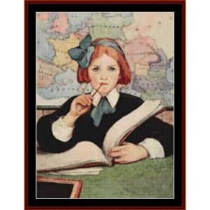 the scholar – jesse willcox smith cross stitch pattern by cross stitch collectibles