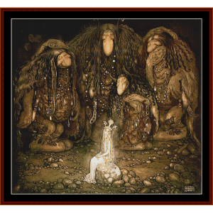 beauty and the trolls – john bauer cross stitch pattern by cross stitch collectibles