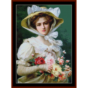 woman with bouquet - emile vernon cross stitch pattern by cross stitch collectibles